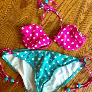 Contrasting Teal & Pink Polka Dot Bikini